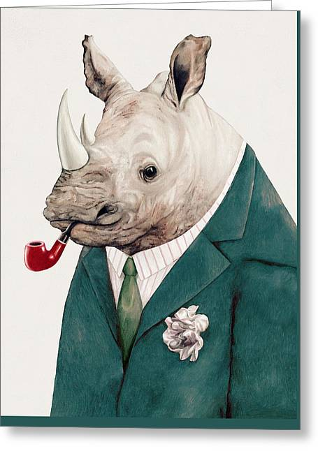Rhino In Teal Greeting Card by Animal Crew
