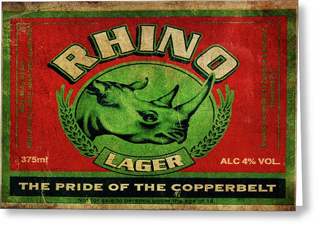 Greeting Card featuring the digital art Rhino Lager by Greg Sharpe
