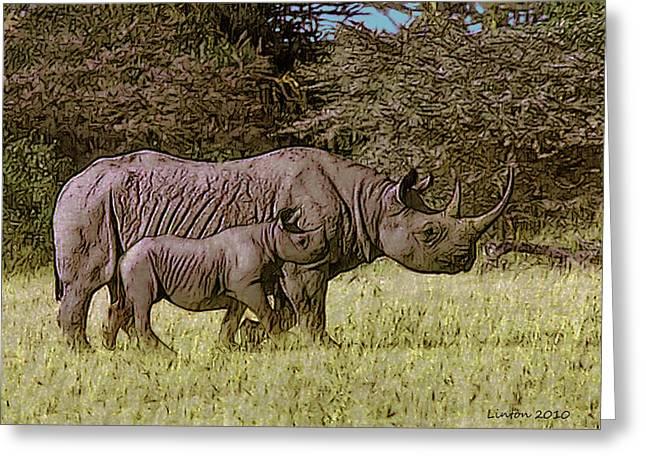 Rhino Mother And Calf Greeting Card