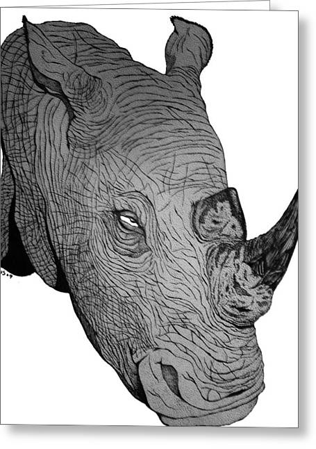 Rhino Greeting Card by Nick Gustafson