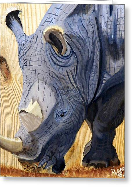 Rhino On Wood Greeting Card