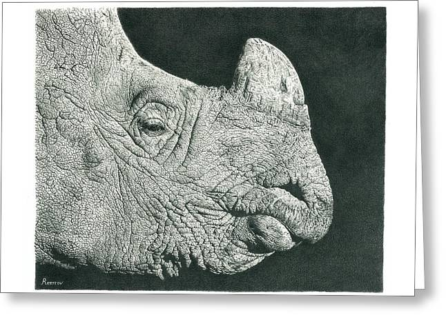 Rhino Pencil Drawing Greeting Card