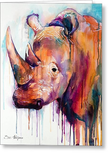 Rhino Greeting Card by Slavi Aladjova