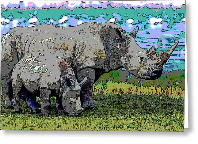 Rhinoceros Greeting Card by Charles Shoup