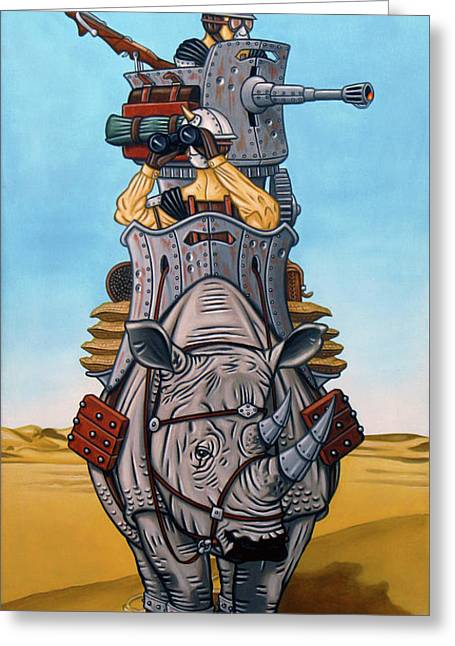 Rhinoceros Riders Greeting Card