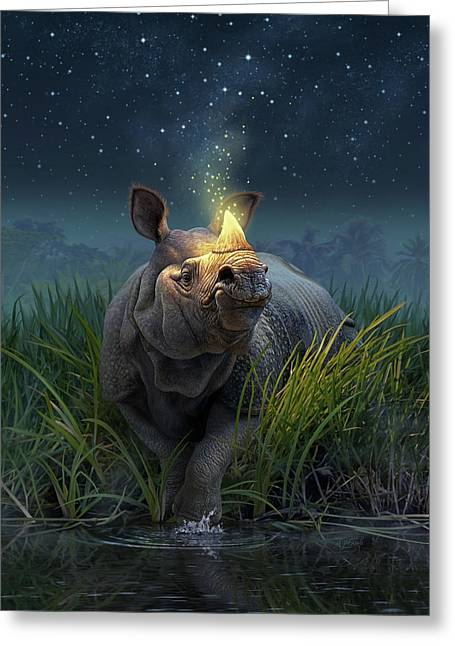 Rhinoceros Unicornis Greeting Card by Jerry LoFaro
