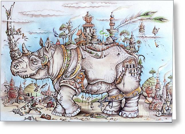 Rhinoceros_home Greeting Card by Anna Armat
