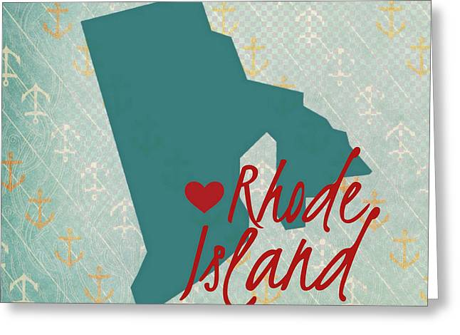 Rhode Island Anchors Greeting Card by Brandi Fitzgerald
