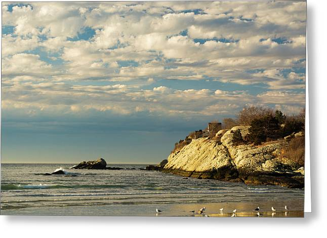 Rhode Island Beach In Winter Greeting Card