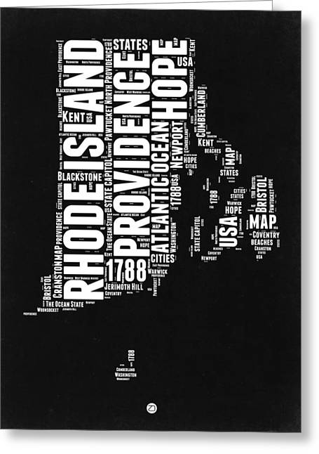 Rhode Island Black And White Map Greeting Card by Naxart Studio