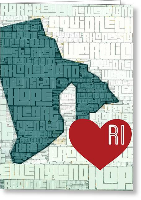 Rhode Island Cities Greeting Card by Brandi Fitzgerald