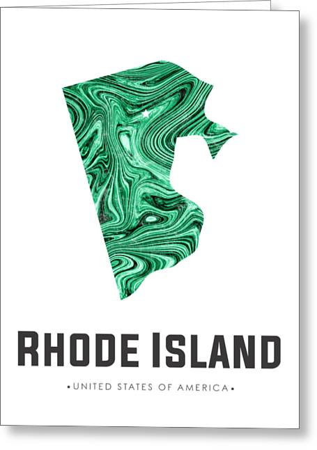 Rhode Island Map Art Abstract In Emerald Green Greeting Card