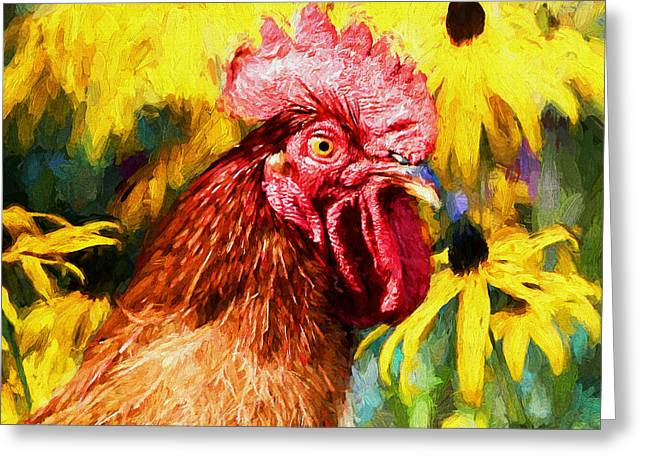 Rhode Island Red Rooster Greeting Card by Tina  LeCour