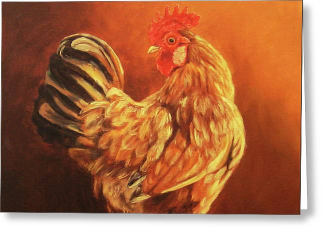 Rhode Island Red Rooster Greeting Card by Tom Chapman