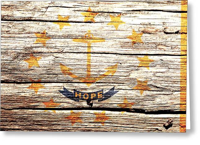Rhode Island State Flag 3w Greeting Card by Brian Reaves