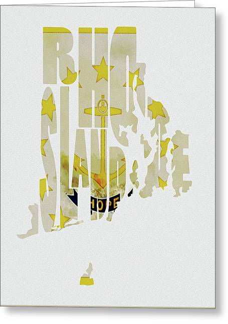 Rhode Island Typography Map Flag Greeting Card by Kevin O'Hare