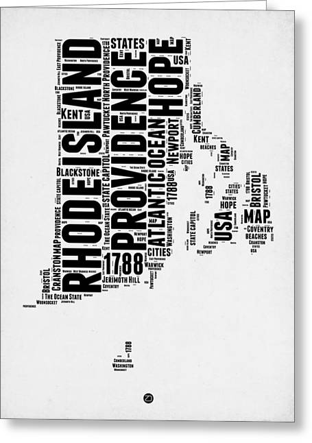 Rhode Island Word Cloud 1 Greeting Card by Naxart Studio