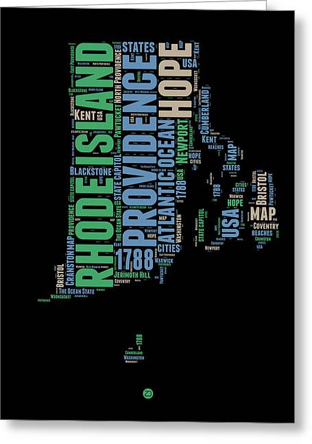 Rhode Island Word Cloud 2 Greeting Card by Naxart Studio