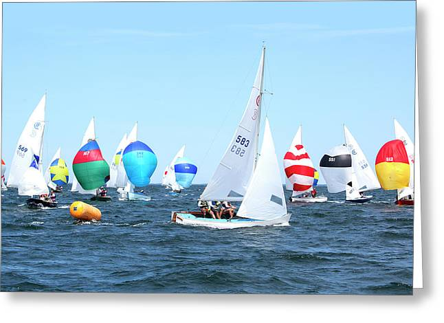 Greeting Card featuring the photograph Rhodes Nationals Sailing Race Dennis Cape Cod by Charles Harden