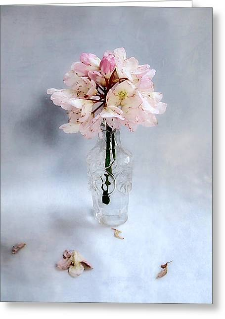 Rhododendron Bloom In A Glass Bottle Greeting Card