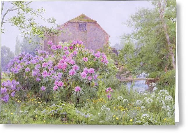 In Bloom Paintings Greeting Cards - Rhododendrons by a watermill Greeting Card by George Marks
