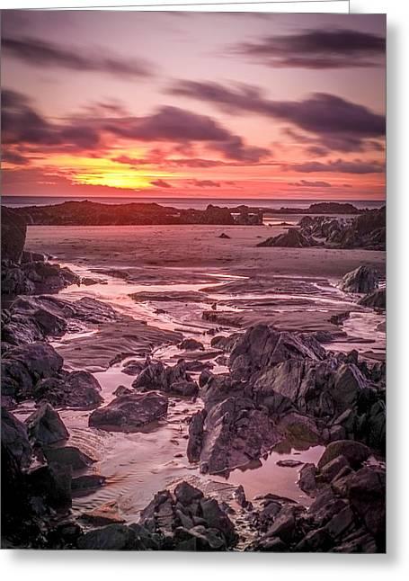 Rhosneigr Beach At Sunset Greeting Card