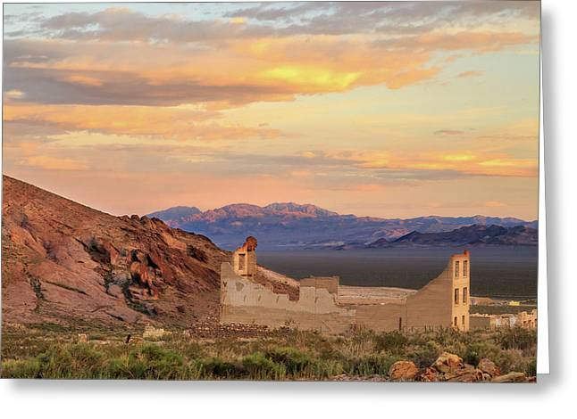 Greeting Card featuring the photograph Rhyolite Bank At Sunset by James Eddy