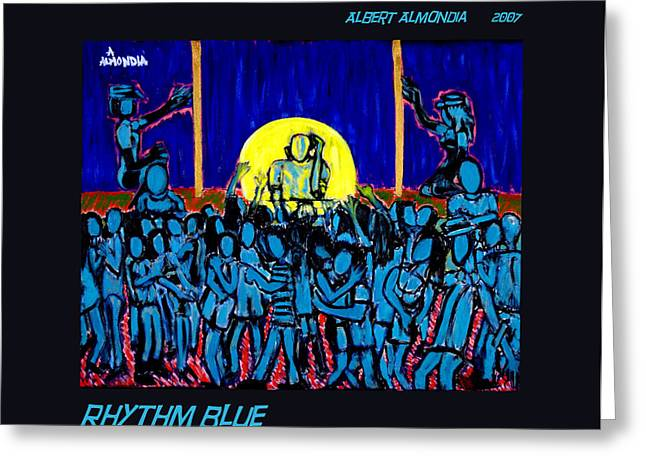 Rhythm Blue Greeting Card by Albert Almondia