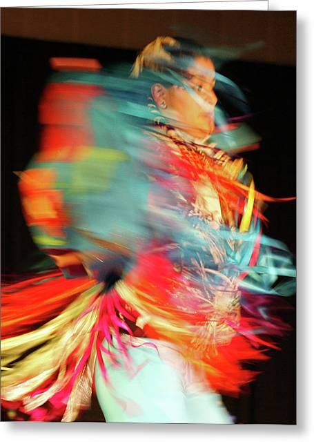 Colorful American Indian Greeting Cards - Rhythm Of Dance Greeting Card by Joy Tudor