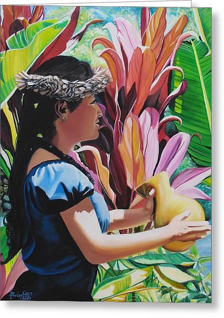 Rhythm Of The Hula Greeting Card by Marionette Taboniar