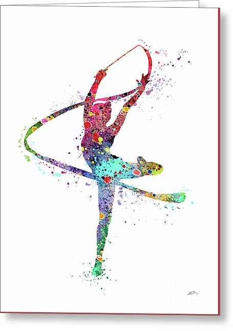 Rhythmic Gymnastics Print Sports Print Watercolor Print Dancer Girl  Greeting Card