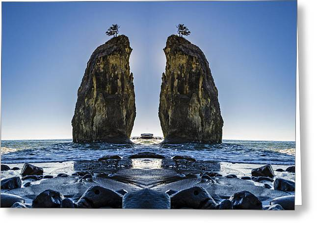 Rialto Beach Sea Stack Reflection Greeting Card by Pelo Blanco Photo
