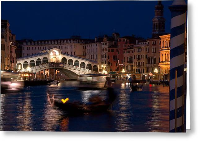 Rialto Bridge In Venice At Night With Gondola Greeting Card by Michael Henderson