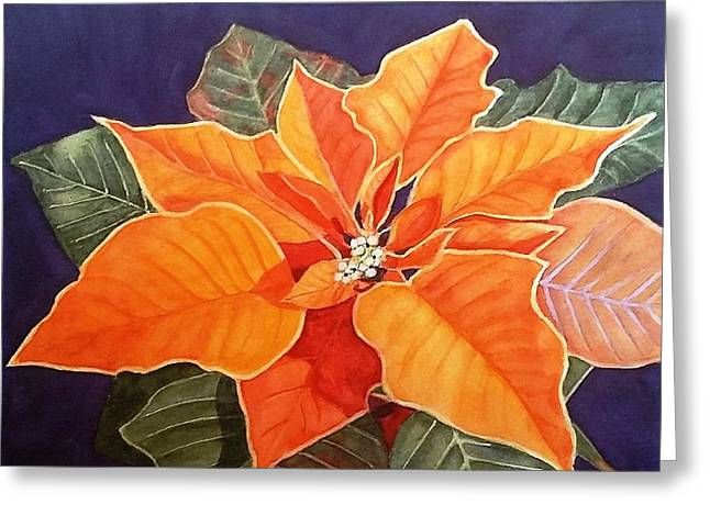 Ribbon Candy Poinsettia Greeting Card