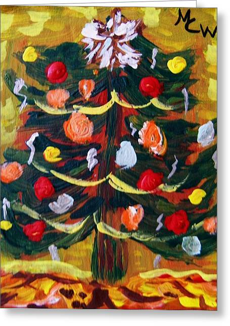 Greeting Card featuring the painting Ribbon Garland by Mary Carol Williams