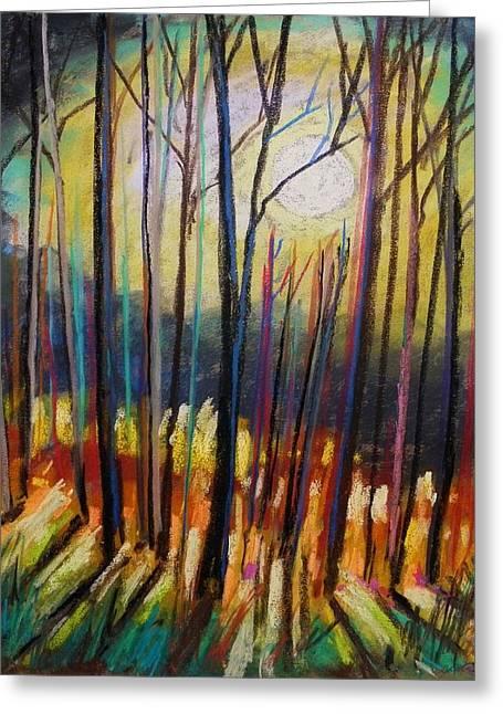 Dark Skies Pastels Greeting Cards - Ribbons of Moonlight Greeting Card by John  Williams