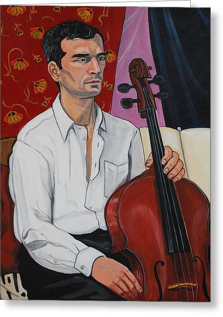 Ricardo With Cello Greeting Card by Diana Blackwell