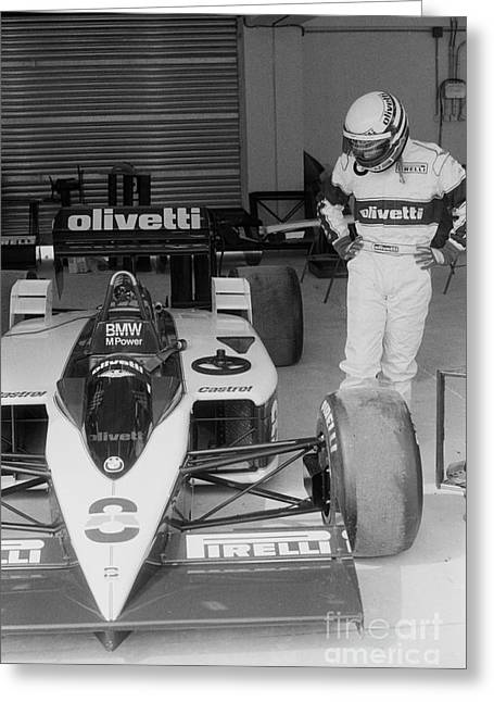 Riccardo Patrese. 1986 Spanish Grand Prix Greeting Card by Oleg Konin