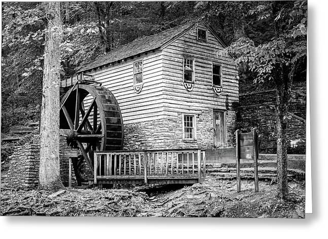 Rice Grist Mill - Norris Dam State Park - Tennessee - Black And White Greeting Card
