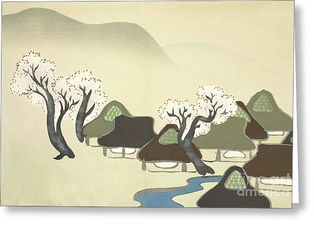 Rice Paddies And Houses In Spring Greeting Card