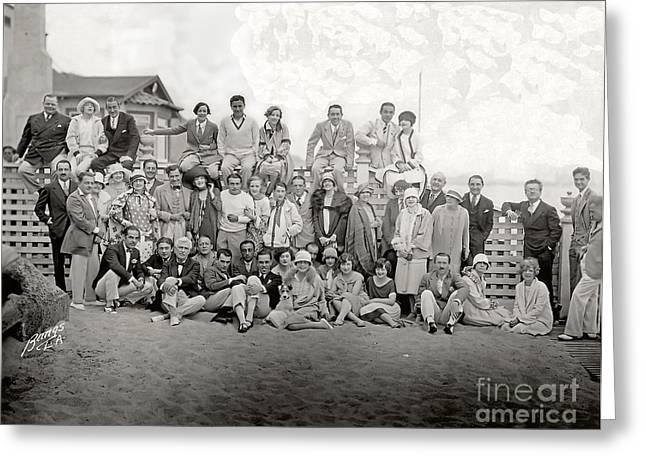 Richard Barthelmess Birthday Party Santa Monica Beach 1926 Greeting Card by Sad Hill - Bizarre Los Angeles Archive