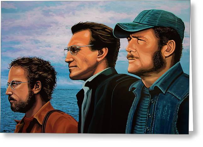 Jaws With Richard Dreyfuss, Roy Scheider And Robert Shaw Greeting Card by Paul Meijering