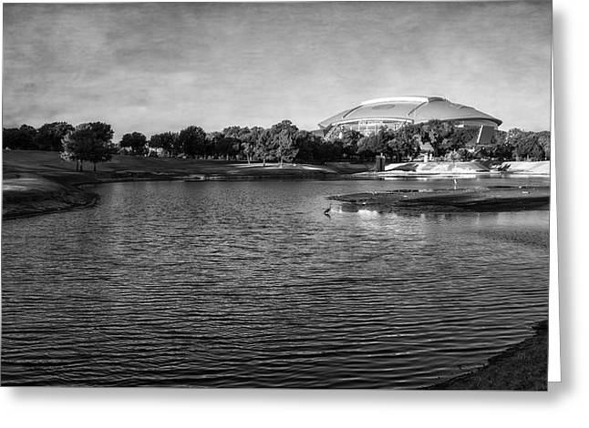 Richard Greene Linear Park And Att Stadium Bw Greeting Card by Joan Carroll