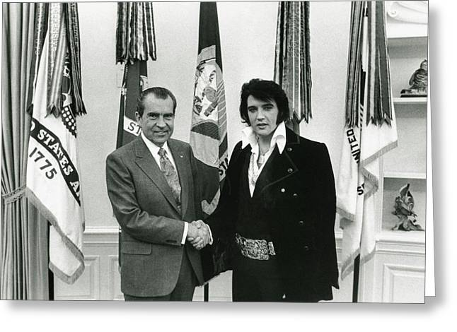 Richard Nixon And Elvis Presley Greeting Card by Unknown