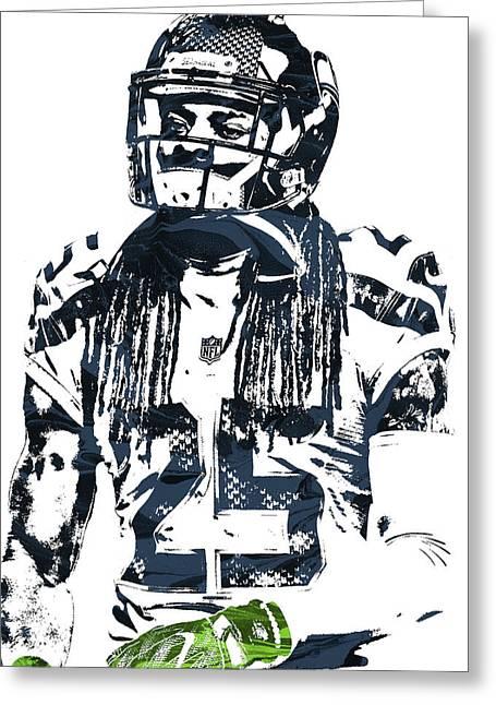 Richard Sherman Seattle Seahawks Pixel Art 4 Greeting Card by Joe Hamilton