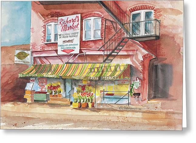 Richard's Market Greeting Card by Diane Hutchinson