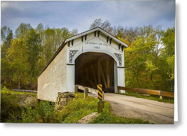 Richland Creek Covered Bridge Greeting Card by Jack R Perry