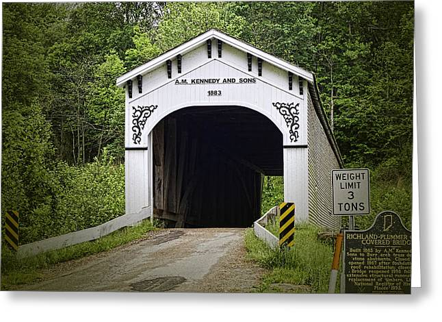 Richland Plummer Creek Covered Bridge Greeting Card by Phyllis Taylor