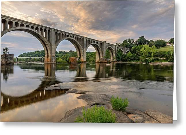 Richmond Train Bridge Greeting Card by Michael Donahue