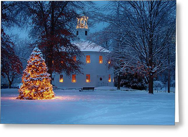 Richmond Vermont Round Church At Christmas Greeting Card